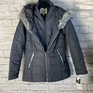 Maralyn & Me Grey Puffer Jacket with Faux Fur Hood and Vest NWT